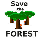 Nós salvar a floresta da extinção Imagens de Stock Royalty Free