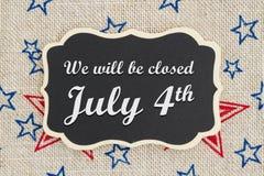 Nós seremos mensagem fechado do 4 de julho Imagens de Stock Royalty Free