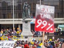 Nós somos o cartaz de 99% na reunião portsmouth da união Fotografia de Stock Royalty Free