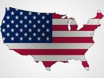 Nós sumário da bandeira e do mapa Imagem de Stock Royalty Free