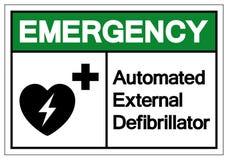 Nöd- AED automatiserade det yttre Defibrillatorsymboltecknet, vektorillustrationen, isolat på den vita bakgrundsetiketten EPS10 vektor illustrationer