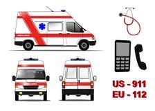 Nöd- ambulansbil Royaltyfri Fotografi