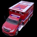 Nöd- appell och 911: ambulansskåpbil som isoleras på svart Royaltyfri Bild
