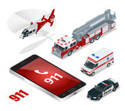nöd- begrepp Ambulans polisen, brandlastbil, lastlastbil, helikopter, nöd- nummer 911 Isometrisk plan 3d Arkivbild