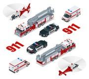 nöd- begrepp Ambulans polisen, brandlastbil, lastlastbil, helikopter, nöd- nummer 911 Isometrisk plan 3d Royaltyfri Fotografi