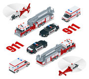 nöd- begrepp Ambulans polisen, brandlastbil, lastlastbil, helikopter, nöd- nummer 911 Isometrisk plan 3d Vektor Illustrationer