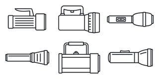 Nöd- ficklampasymbolsuppsättning, översiktsstil vektor illustrationer