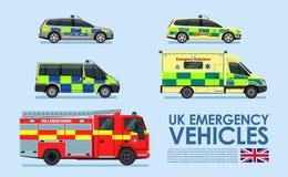 Nöd- medelbilar för UK, polisbil, ambulansskåpbil, brandlastbil som isoleras på blå bakgrund Arkivfoto