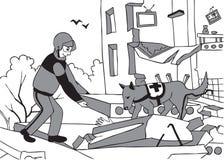 Nöd- räddare och hund vektor illustrationer