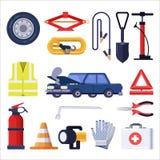 Nöd- sats för bilväg Bilreparations- och säkerhetshjälpmedel Plan illustration för vektor royaltyfri illustrationer
