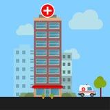 Nöd- sjukhus och ambulans royaltyfri illustrationer