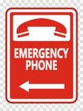 nöd- telefon ( för symbol; Vänster Arrow) Tecken på genomskinlig bakgrund royaltyfri illustrationer