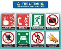 Nöd- tillvägagångssätt för brandhandling (evakueringstillvägagångssättet) Arkivfoto