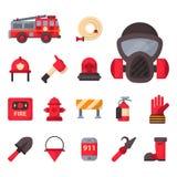 Nödläget för brandsäkerhetsutrustning bearbetar för faraolyckan för brandmannen den säkra illustrationen för vektorn för skydd Arkivfoton