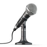 nödvändig hög mikrofon för bakgrund som tool white Arkivfoton