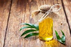 Nödvändig olja i en liten flaska arkivbilder