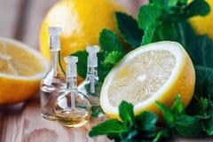 Nödvändig olja i glasflaska med ny saftig citronfrukt och gröna sidor av mintkaramellen på träbakgrund olja för badskönhetsammans Royaltyfri Fotografi