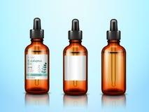 nödvändiga olje- flaskor för eukalyptus 3d med pipetten royaltyfri illustrationer