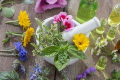 Nödvändiga oljor för aromatherapybehandling med nya örter i mortelvitbakgrund royaltyfria bilder