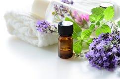 Nödvändiga oljor och skönhetsmedel med lavendel och örter Arkivbilder