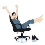 nöjd kvinna för kontor Arkivfoto