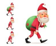 Nöjd lycklig tillfredsställd jul Santa Claus Heavy Gift Bag Cartoon går den trötta ledsna uttröttade isolerade uppsättningen för  Fotografering för Bildbyråer