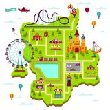 Nöjesfältöversikt Festivalen för intrigbeståndsdeldragningar roar funfairfritidfamiljen, nöjesplats somungen spelar tecknad filmö royaltyfri illustrationer