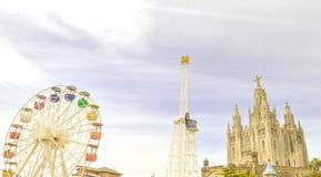 Nöjesfält i Barcelona royaltyfria foton