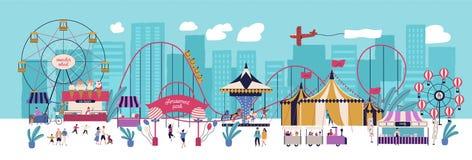 Nöjesfält med olika dragningar, cirkusen, ferrishjulet, karusell, berg-och dalbanan, kiosk med godisar och is royaltyfri illustrationer