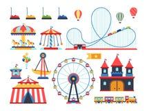 Nöjesfältdragningar Drev, ferrishjul, karusell och plana vektorsymboler för berg-och dalbana stock illustrationer