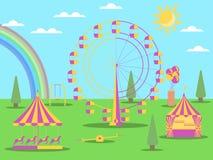 Nöjesfältlägenhetstilen En pariserhjul, en karusell med hästar och en gunga Soligt väder med en regnbåge vektor vektor illustrationer