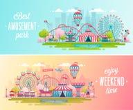 Nöjesfältlandskapbaner med den karusell-, berg-och dalbana- och luftballongen royaltyfri illustrationer