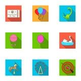 Nöjesfältritterna Attributen av ett fritids- parkerar, nödrum, sockervadd Nöjesfältsymbol i uppsättning vektor illustrationer