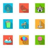 Nöjesfältritterna Attributen av ett fritids- parkerar, nödrum, sockervadd Nöjesfältsymbol i uppsättning stock illustrationer