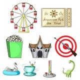 Nöjesfältritterna Attributen av ett fritids- parkerar, nödrum, sockervadd Nöjesfältsymbol i uppsättning royaltyfri illustrationer