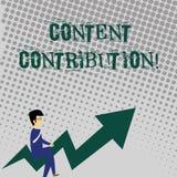 Nöjt bidrag för handskrifttexthandstil Begreppsbetydelsebidrag av information till något digitalt massmedia vektor illustrationer