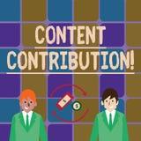 Nöjt bidrag för handskrifttexthandstil Begreppsbetydelsebidrag av information till några digitala massmediapengar in vektor illustrationer