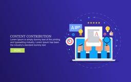 Nöjt bidrag som skapar bloggstolpen för online-tidskrift, den nöjda skapelsen och att publicera royaltyfri illustrationer