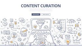 Nöjt Curation klotterbegrepp royaltyfri illustrationer