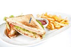 nötkött isolerad steksmörgåswhite Royaltyfri Fotografi