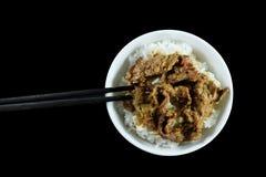Nötkött med ris royaltyfri fotografi