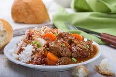 Nötkött- och grönsakeldfast form som tjänas som med ris arkivbilder