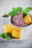 Nötkött och grillad havre Royaltyfri Fotografi