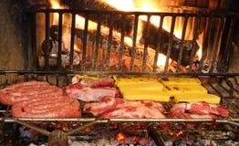 Nötkött och griskött på gallret i de glödande glöden av fireplacen Arkivbild