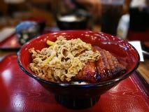 Nötkött- och Unagi risbunke Arkivbilder