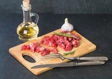 nötkött skära i tärningar rått Fotografering för Bildbyråer