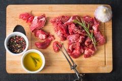 nötkött skära i tärningar rått Royaltyfria Bilder