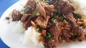 Nötkött som stekas med vitlök och ris thai mat Royaltyfri Fotografi