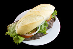 nötkött steker den vänstra smörgåsen Fotografering för Bildbyråer