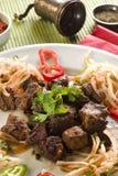 nötkött stekte leverparsleyöverkanten Arkivbild